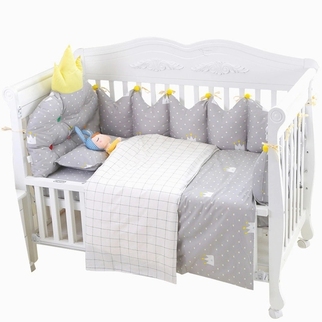 10pcs baby bedding set with hanging storage bag toddler crib bedclothes baby cot safe crown shape - Bedding In A Bag