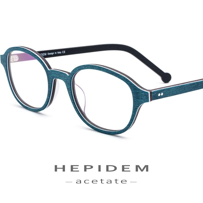 Acetate Glasses Frame Men Round Prescription Spectacles Eyewear 2018 Women Nerd Myopia Optical Frames Wood Grain Eyeglasses 9102