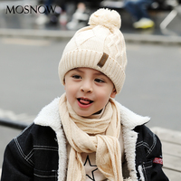 MOSNOW Boy Hat And Scarf Set Curl Cotton Knitted Winter Fur Pompom Ears Caps Dot Boy