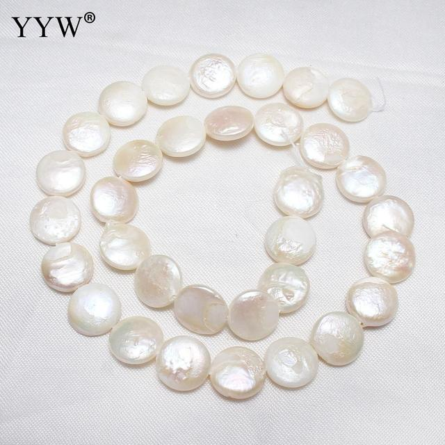 d0ff740ecfbfb US $7.19 35% OFF|YYW High Quality Cultured Coin Freshwater Pearl Beads Flat  Round Natural White 14 15mm 15.3