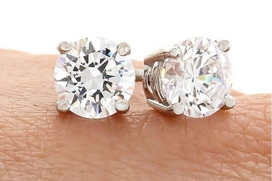 5MM Putih Padat CZ / Cubic Zirconia Round Screw Back anting-anting - Perhiasan fesyen - Foto 3