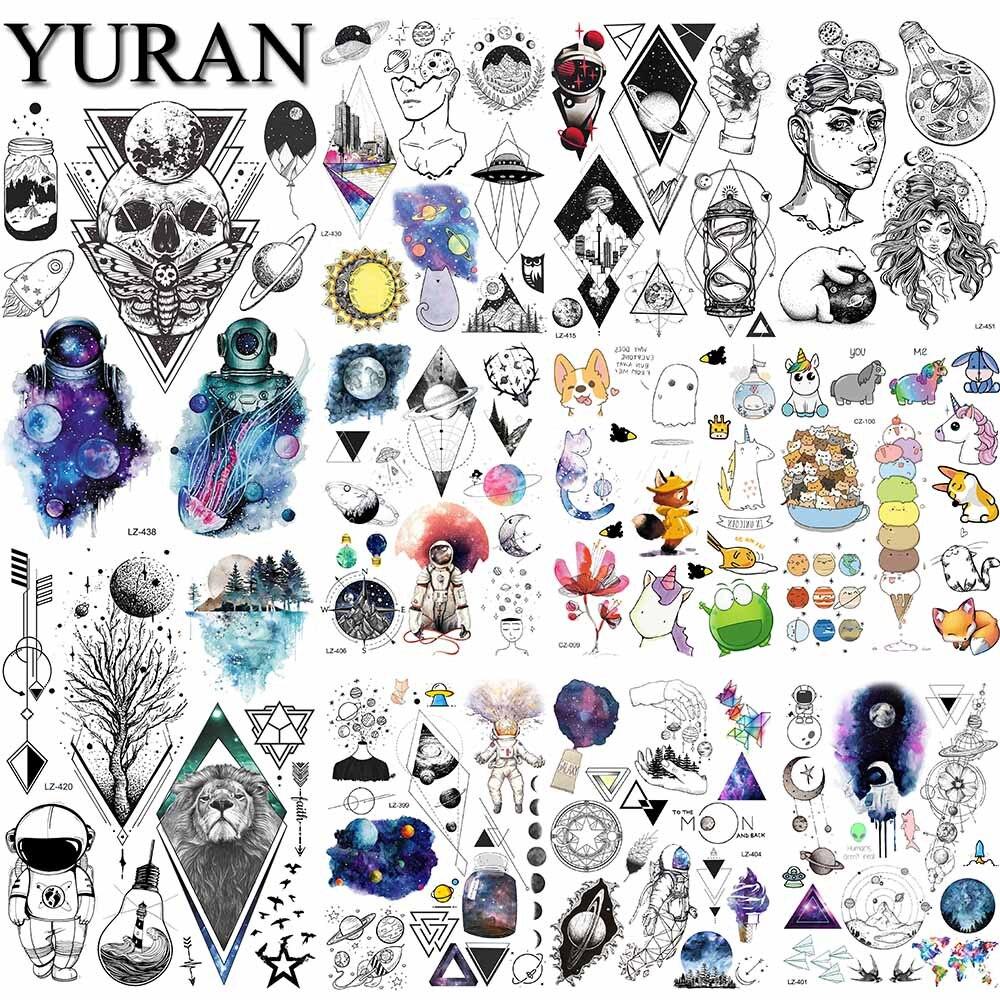 Флеш-мультяшная татуировка для детей оптом, татуировка Галактики, астронавта, временные Детские Коты, геометрические тату-наклейки, женски...