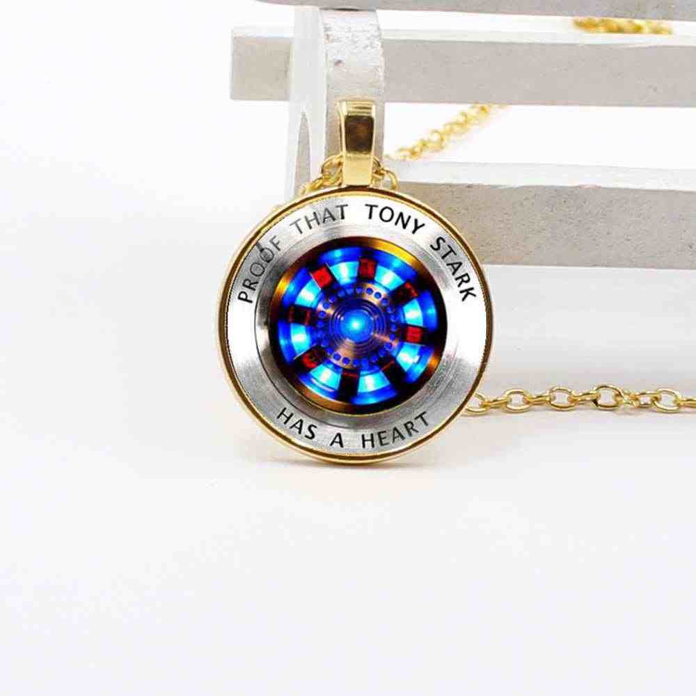 2019 New Iron Man, Tony Stark Tibet Silver Glass Dome Necklace Pendant Charm Wholesale