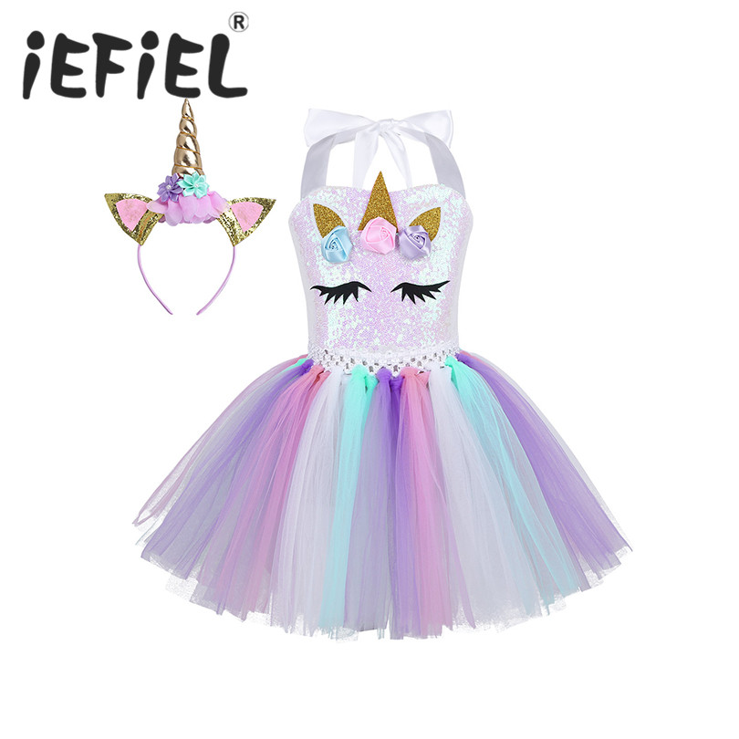 Kids Girls Cartoon Cosplay Dress 3D Flowers Shiny Sequins Mesh Tutu Dress with Hair Hoop for Halloween Party Costume Dress Up