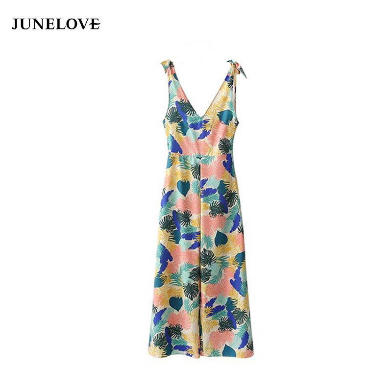 JuneLove women elegant leaves pattern V neck jumpsuits bow tie sleeveless pleated rompers ladies summer casual playsuits