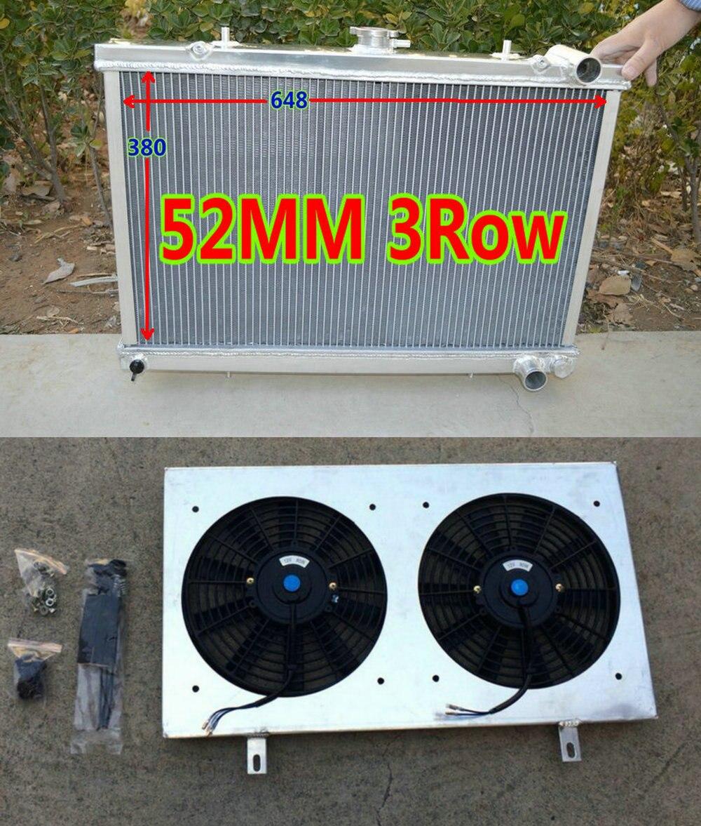 52MM Aluminum Radiator for NISSAN 180SX silvia S13 SR20DET 1989-1994 MT 90 91 92