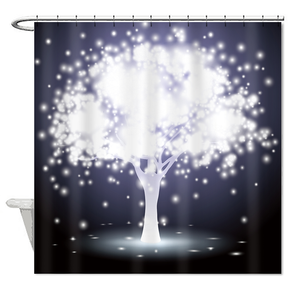New Arrival Waterproof Fabric Trees Plant Shower Curtain Bathroom Nature Scenic Bath Curtain