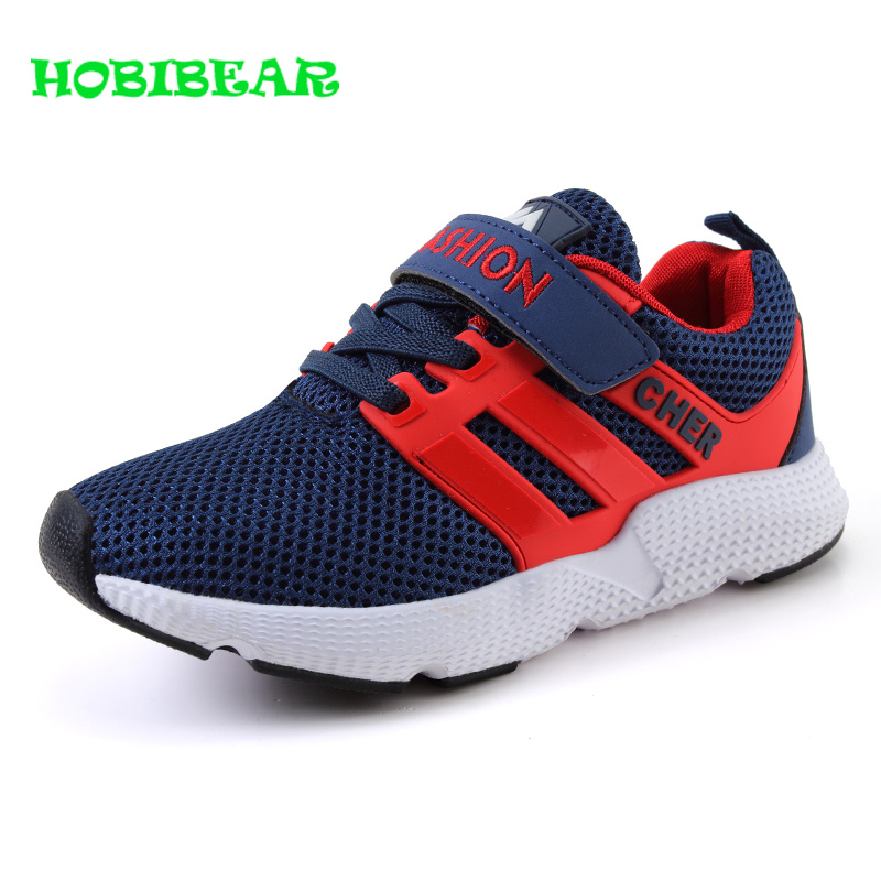 Spring Autumn New Children Sneakers Boys Blue Black Teenage Boys Shoes Breathable Kids Jogging Shoes Wearable Boys Sport Shoes