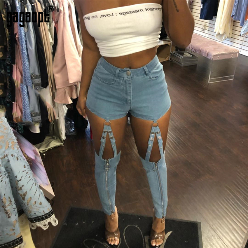 Gagaopt Denim Pants Elastic Hollow Out Thin Female Iron Ring Connection Zipper Casual Blue <font><b>Jeans</b></font> Women Clothing