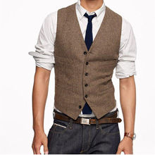 Vintage Brown tweed Vests Wool Herringbone British style Custom Slim Fit Vest