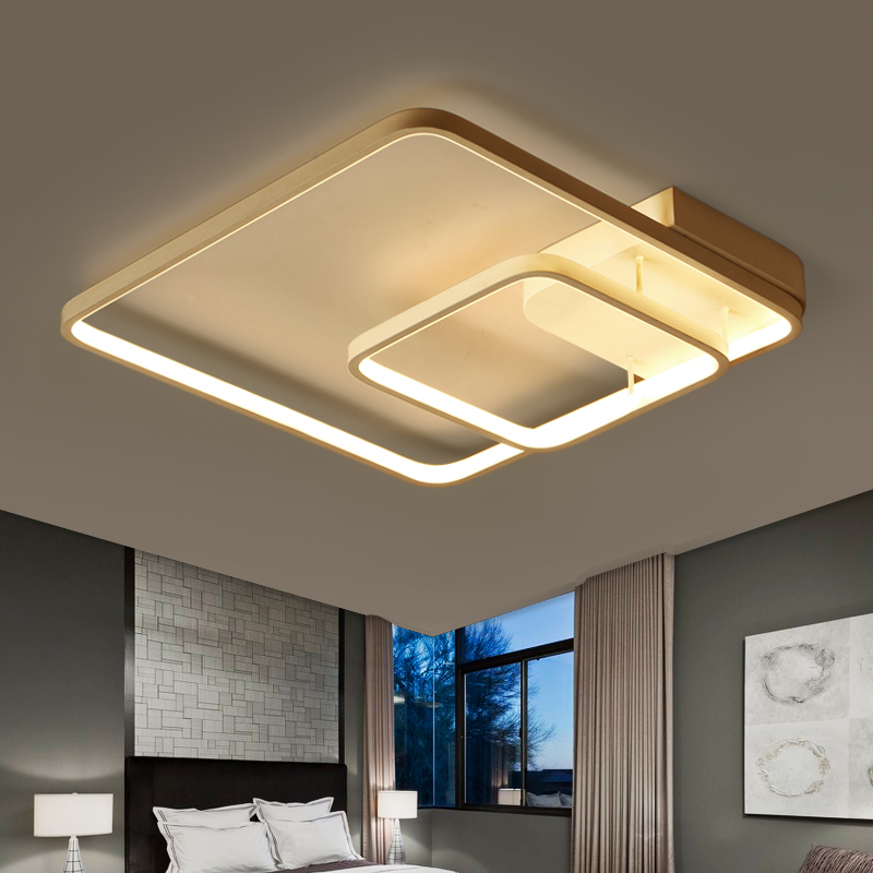 Lights & Lighting New Fashion Minimalism Modern Square Metal Bedroom Led Ceiling Light Creative Study Room Lustre Ceiling Lamp Led Lamparas Lighting Fixtures Reasonable Price Ceiling Lights & Fans