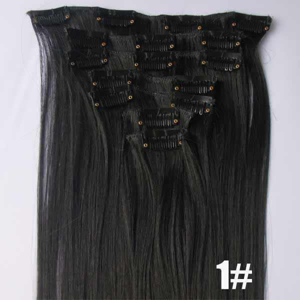 1 Set Heat resistance fibre clip in hair 7pcs/set 90grams synthetic hair extension heat proof hair,32 Colors available, 22""