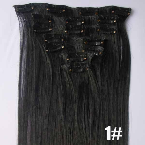 1 Set Heat resistance fibre clip in hair 7pcs/set 90grams synthetic hair extension heat proof hair,32 Colors available, 22