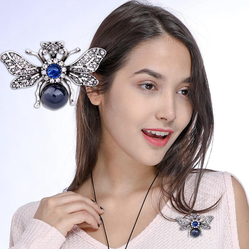 1PCS Personalized Resin Rhinestone Bee Brooch Alloy Vintage Insect  Brooches For Women Fashion Jewelry New Year Gifts