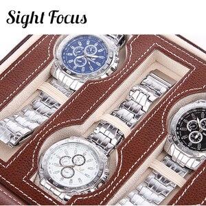 Image 3 - מיקוד ראייה 2 4 8 רשתות נסיעות שעון ארגונית תיבת רוכסן עור מפוצל שעון מקרה Protable אחסון שעוני יד מחזיק שחור קפה