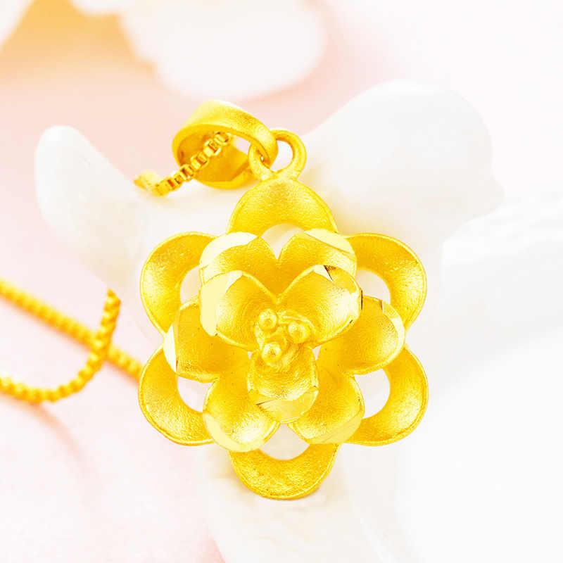 中国の細かい 24 18k ゴールド花ペンダント卸売ベトナム 24 18k ゴールドペンダント女性ウェディングジュエリーギフト送料無料