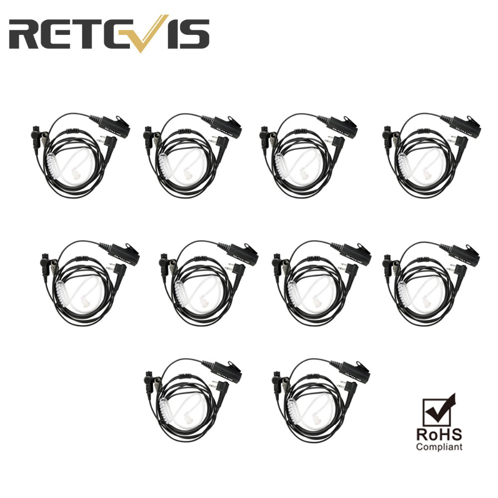 10pcs Retevis 2 Pin Acoustic Tube Radio Earpiece For Motorola Walkie Talkie EA100M Headset With Big MIC PTT