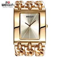 WEIQIN Women Silver Square Dial Bangle Watch Analog Quartz Mvmt Ladies Chain Bracelet Watches Female Wristwatch