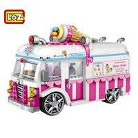 Mini Blocks Vehicle Car Model Bricks Building Blocks City Ice Cream Van Block Set Micro Cartoon Car LOZ 1112