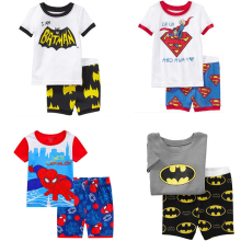 2018 New Summer superman spiderman batman Boys Clothing Sets T-shirt+Shorts Pants cotton costume 2 Pcs Clothes Set for 2-7T