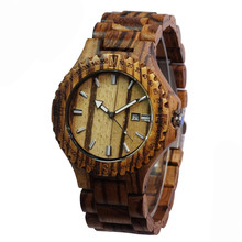 Topwell Wooden WristWatches Date Wood Watch Adjustable Wood band Wristwatch Gift Giving Zebra Wood Watches