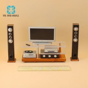 Mini 1:12 Scale Doll house wooden miniature furniture television home video equipment dollhouse living room