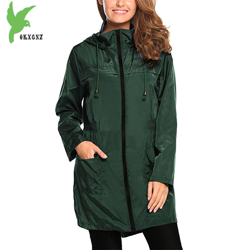 Womens   trench   coat 2018 spring hoodies Plus size Slim female waterproof raincoat top Windbreaker women coat multiple colour 1952