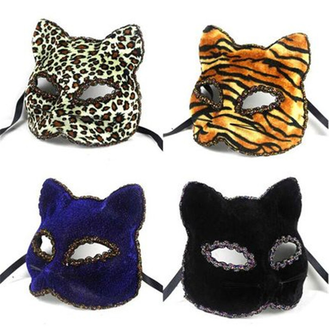 4 Color  Black,Blue,Tiger, Leopard  Sexy Panther Venetian Masquerade Mask Cat Halloween eyemask Feline Fancy Dress Mask