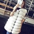 Вся Лиса кожи меховой жилет Пальто длинный участок Корейский стиль длинные Верхняя Одежда женщины зима осень мода куртки натуральный мех большой размер