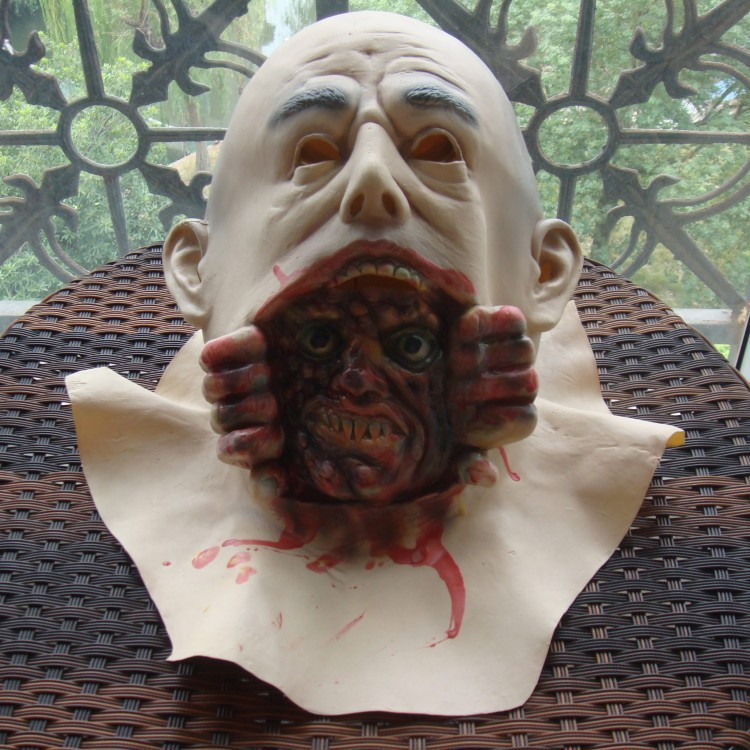 2014 Horror Mask Halloween Lifelike Latex Zombie Mask Large Bald Man Screaming Grimace For masquerade party image