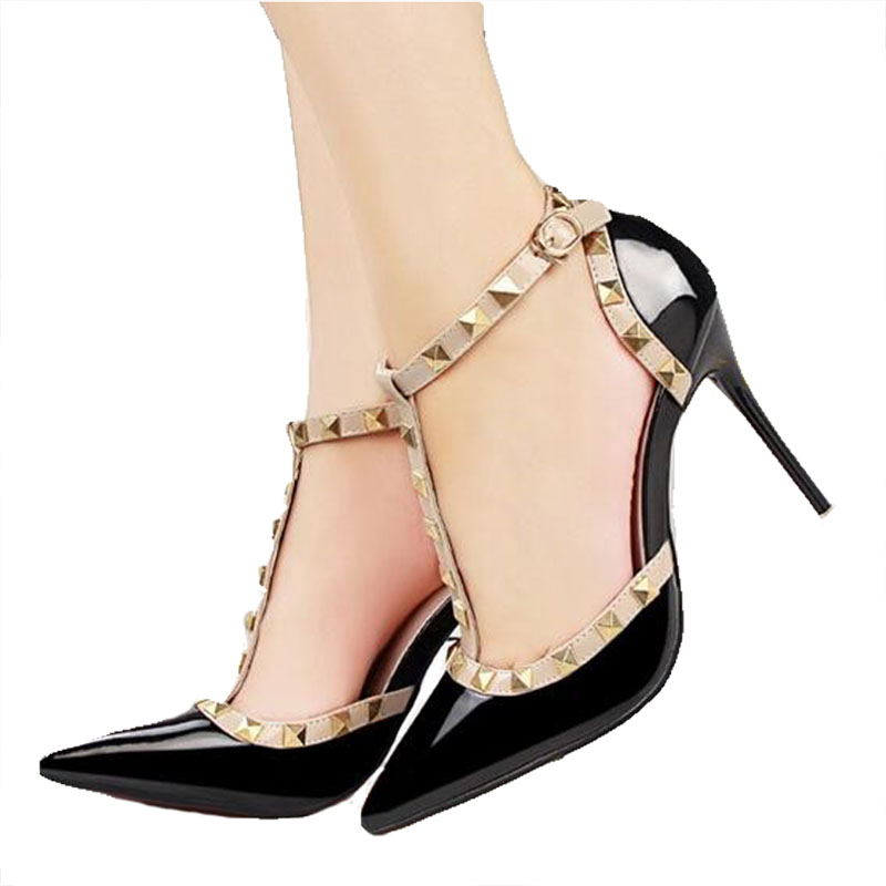 QSR 10CM PUMPS Woman Summer Women's Shoes Fashion Female Sandals Rivet Metal Decoration Pu Leather Women High Heels