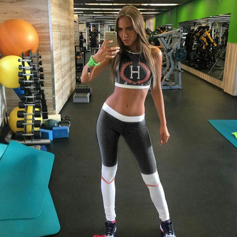 Women Sport Yoga Set Gym Printing Fitness Suit Female Running Sportswear Set Workout Clothes Perspective Bras+Patchwork pants