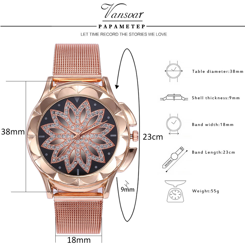 Fashion Women Rose Gold Flower Rhinestone Wrist Watches Luxury Casual Female Quartz Watch Relogio Feminino Drop Shipping  5