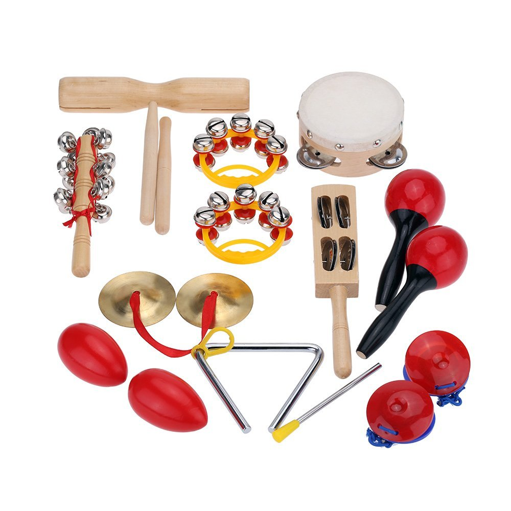 5 pack Percussion Set Kids Children Toddlers Music Instruments Toys Band Rhythm Kit with Case