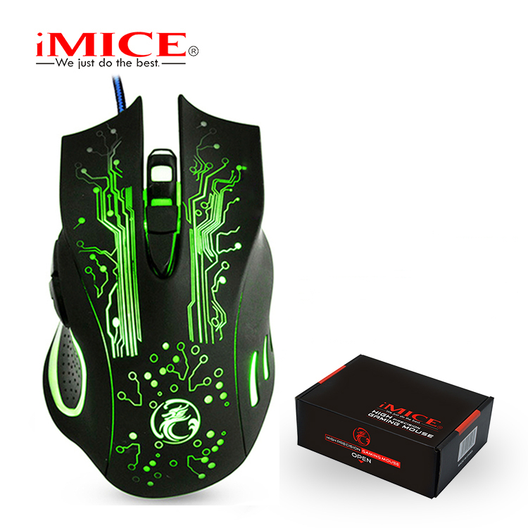 iMice Gaming Mouse Wired Computer Mouse USB Silent Gamer Mice 5000 DPI PC Mause 6 Button Ergonomic Magic Game Mice X9 for Laptop image
