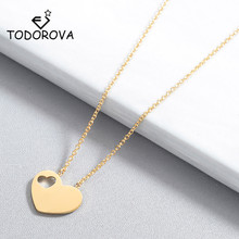 Todorova Choker Necklace Rose Gold Color Dainty Heart Pendant Necklaces for Women Wedding Jewelry Kolye Bridesmaid Gifts