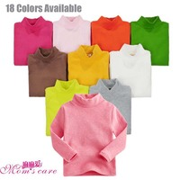 Retail 20 Colors Stand Collar Classic Children Long Sleeves Undershirt 95 Cotton Boy Girl T Shirt