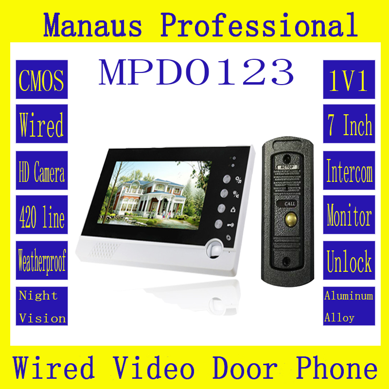Handfree intercom One to One Video Doorphone Kit Configuration,High Quality Smart Home 7 LCD Screen Video Intercom Phone D123a
