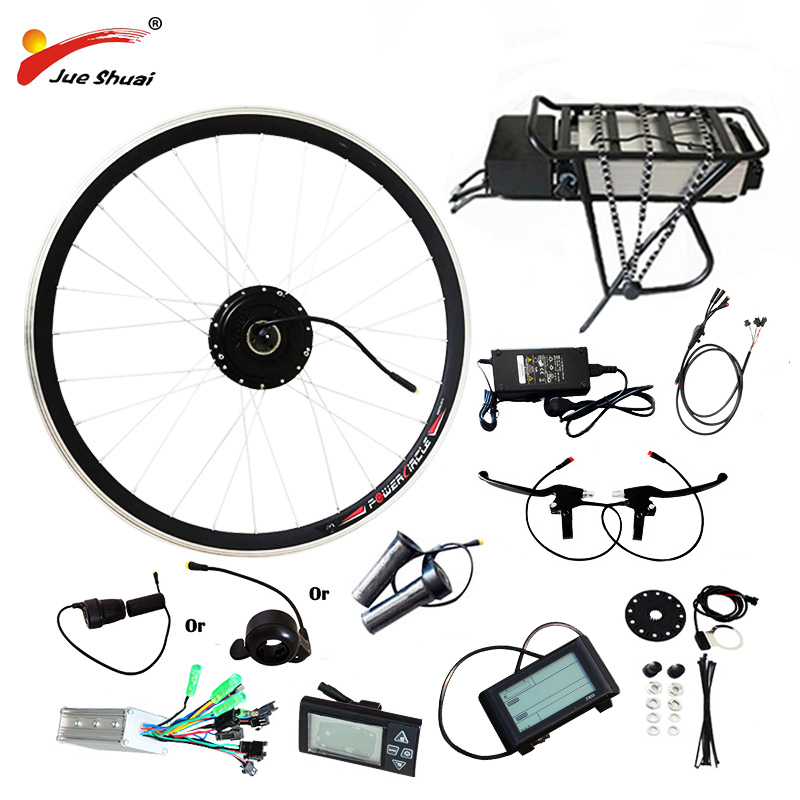 JS Vélo Électrique Kit 20  24 26 700C (28 ) jante avec Batterie Motorisé Vélo Kit Ebike Brushless Moteur Arrière Rack Moteur Kit