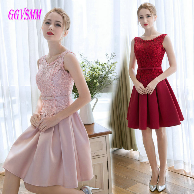 a00ac892c9 Fashion Pink Short Prom Dresses 2018 Prom Dress Scoop Satin Sleeveless Lace  Up Knee Length Women
