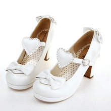 The new high-heeled cute bow tie sweet lolita girls love solid round princess shoes more softer