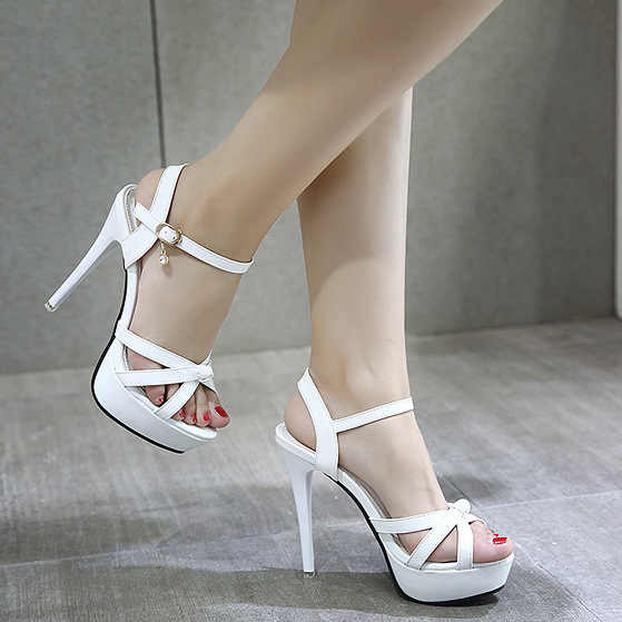 2019 Women Shoes Summer Women Sandals Shoes Thin Heel High Heels 13CM Sexy Open Toe Pointy Sandals Nightclub Bridal Shoes Pumps