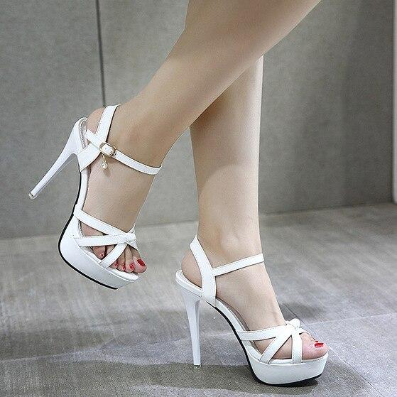 2018 chaussures pour femmes D'été sandales pour femme Talon Mince talons hauts 13 CM Sexy Ouvert Bout Pointu Sandales Discothèque chaussures de mariée Pompes