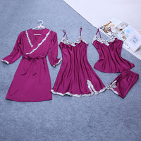 Band sexy vrouwen kant zijde satijn pyjama sets badjas & nachthemd vier stukken meisjes thuis wear V-hals lingerie set hot