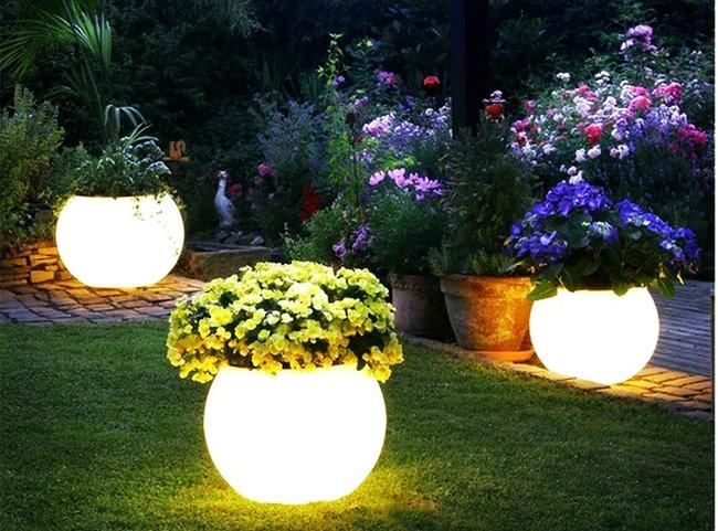 ФОТО 2016 New 4 PCS DHL Free Shipping Illuminated Led Ball Shape Light Flower Pot