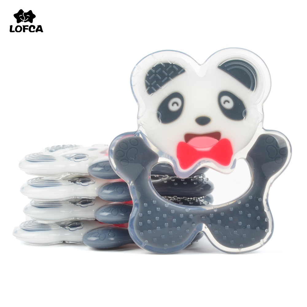 LOFCA Liquid Panda Animal Silicone Teether Baby Teething Beads Toy Food Grade Silicone Chew Nursing Teether Pacifier Clip Chain