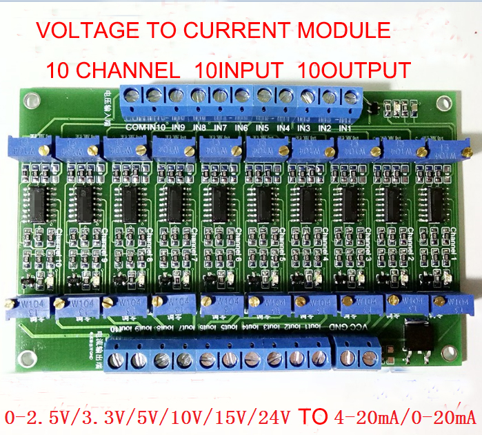 Free shipping 10 Way voltage to Current module 0-3.3V/5V/10V/15V to 4~20mA Multi-channel signal transfer moduleFree shipping 10 Way voltage to Current module 0-3.3V/5V/10V/15V to 4~20mA Multi-channel signal transfer module