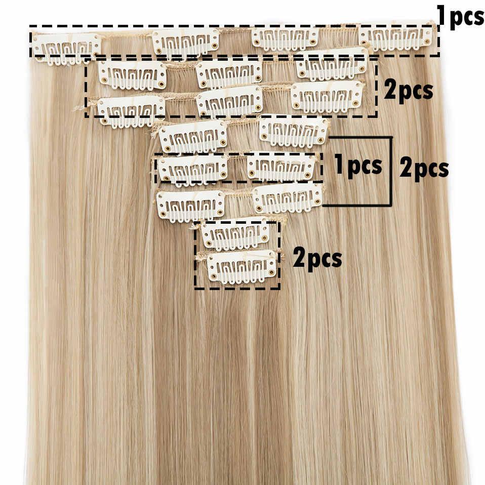 SNOILITE 8 قطعة/المجموعة 26 بوصة 18 مقاطع طويلة مستقيم دبابيس داخل وصلات الشعر المستعار الاصطناعية مقاطع الشعر للنساء الأسود هيربيسي