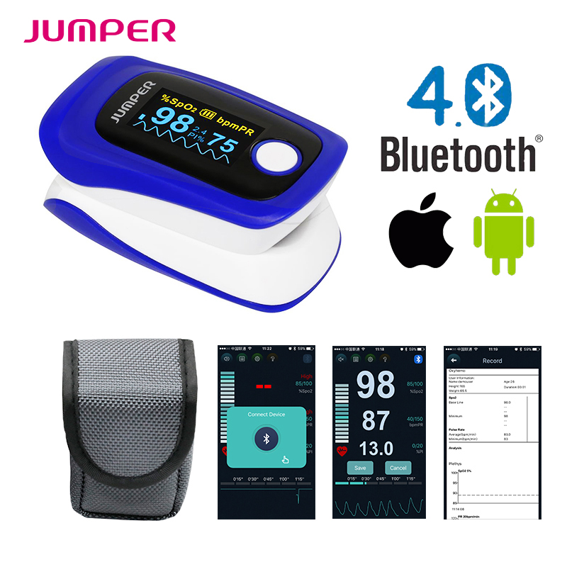 Jumper Marke Drahtlose Bluetooth Finger-pulsoximeter Blutsauerstoffsättigung JPD-500F Oximetro de dedo Monitor für IOS Android