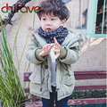 chifave New Winter Kids Boys Parka Zipper Hooded Collar Children Clothing Button Decoration Baby Warm Solid Color Outerwear Coat